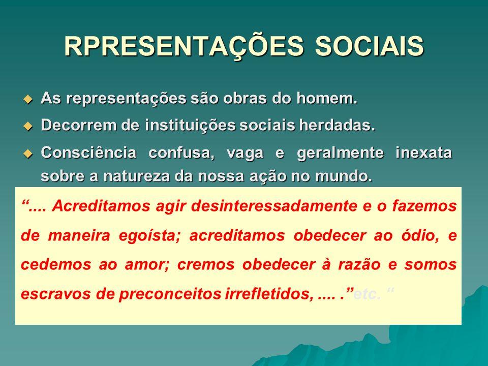 RPRESENTAÇÕES SOCIAIS As representações são obras do homem. As representações são obras do homem. Decorrem de instituições sociais herdadas. Decorrem