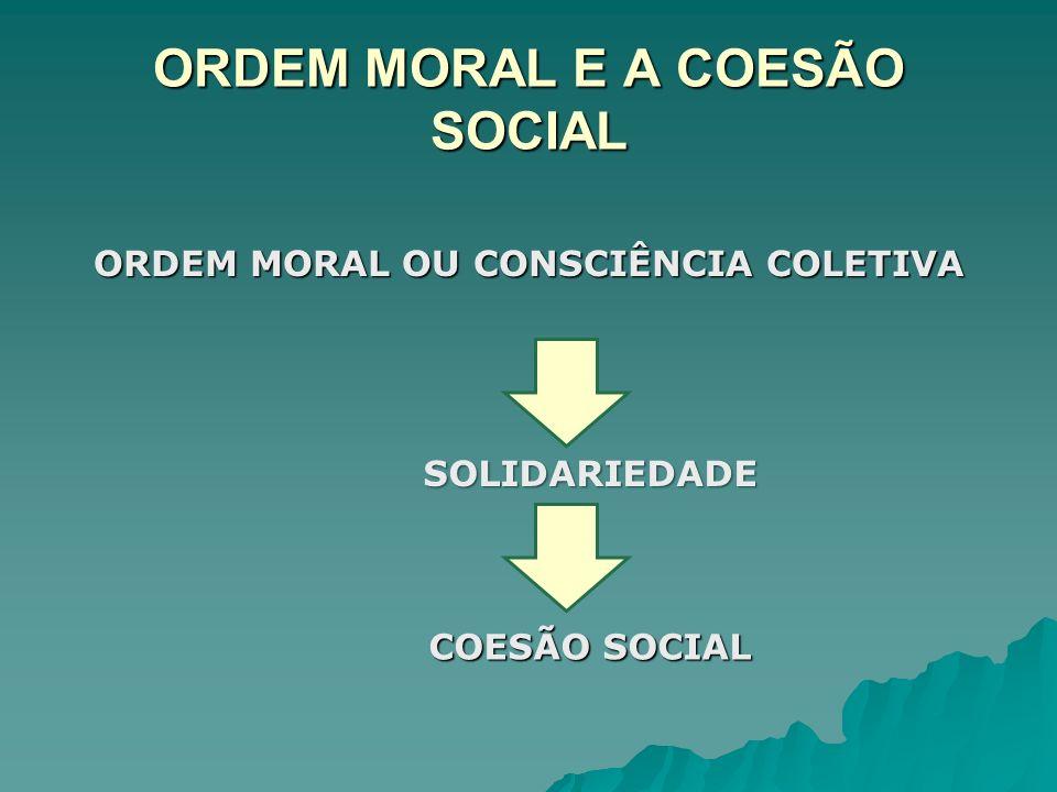 ORDEM MORAL E A COESÃO SOCIAL ORDEM MORAL OU CONSCIÊNCIA COLETIVA SOLIDARIEDADE COESÃO SOCIAL