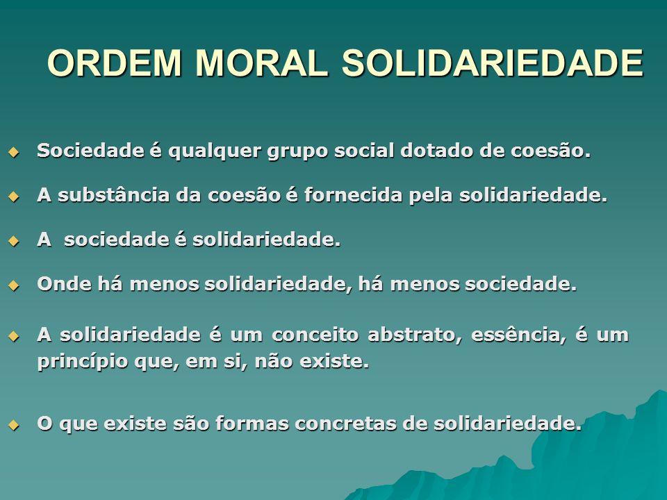 ORDEM MORAL SOLIDARIEDADE Sociedade é qualquer grupo social dotado de coesão. Sociedade é qualquer grupo social dotado de coesão. A substância da coes