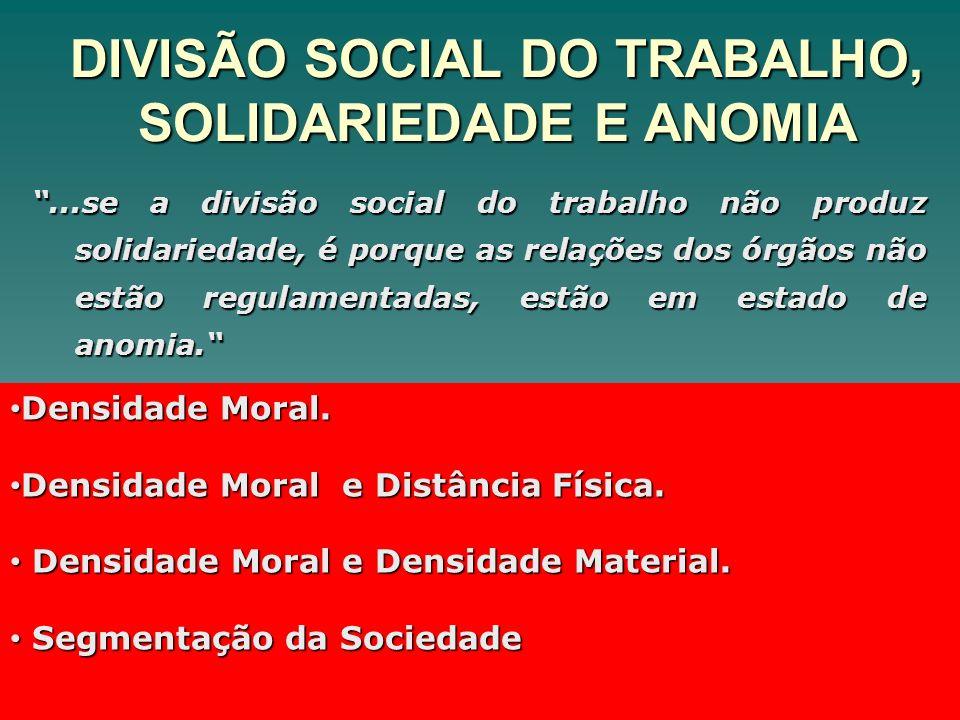 DIVISÃO SOCIAL DO TRABALHO, SOLIDARIEDADE E ANOMIA...se a divisão social do trabalho não produz solidariedade, é porque as relações dos órgãos não est