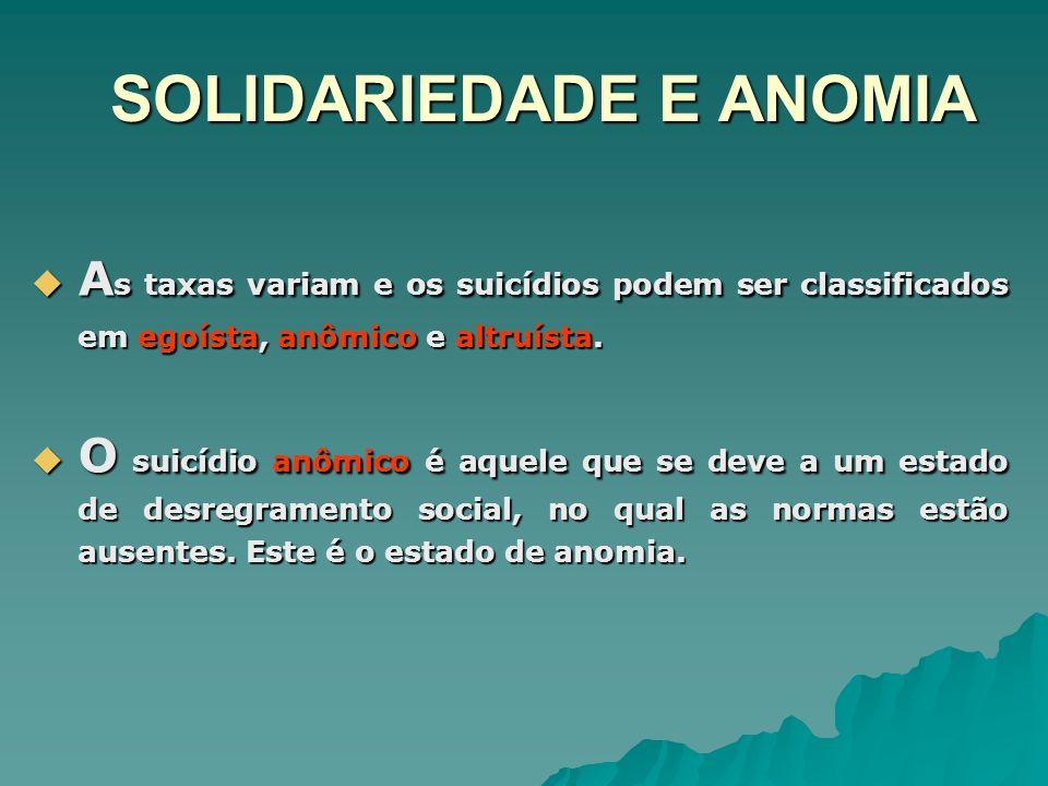 SOLIDARIEDADE E ANOMIA A s taxas variam e os suicídios podem ser classificados em egoísta, anômico e altruísta. A s taxas variam e os suicídios podem