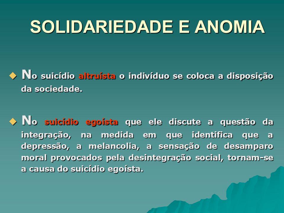 SOLIDARIEDADE E ANOMIA N o suicídio altruísta o indivíduo se coloca a disposição da sociedade. N o suicídio altruísta o indivíduo se coloca a disposiç