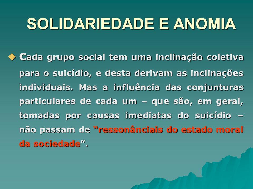 SOLIDARIEDADE E ANOMIA c ada grupo social tem uma inclinação coletiva para o suicídio, e desta derivam as inclinações individuais. Mas a influência da