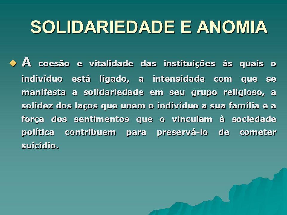SOLIDARIEDADE E ANOMIA A coesão e vitalidade das instituições às quais o indivíduo está ligado, a intensidade com que se manifesta a solidariedade em