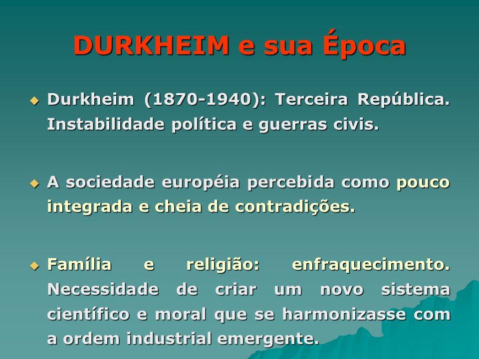 DURKHEIM e sua Época Durkheim (1870-1940): Terceira República. Instabilidade política e guerras civis. Durkheim (1870-1940): Terceira República. Insta