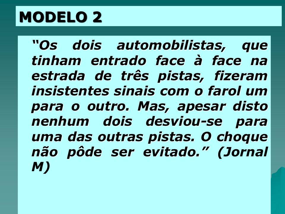 DOIS MODELOS EXPLICATIVOS Modelo 1 Esquema Causal Comportamento do Motorista Estado de Embriaguez Fato A explicado por um conjunto de outros fatos (B,C,D,....N) anteriores à AÇÃO!