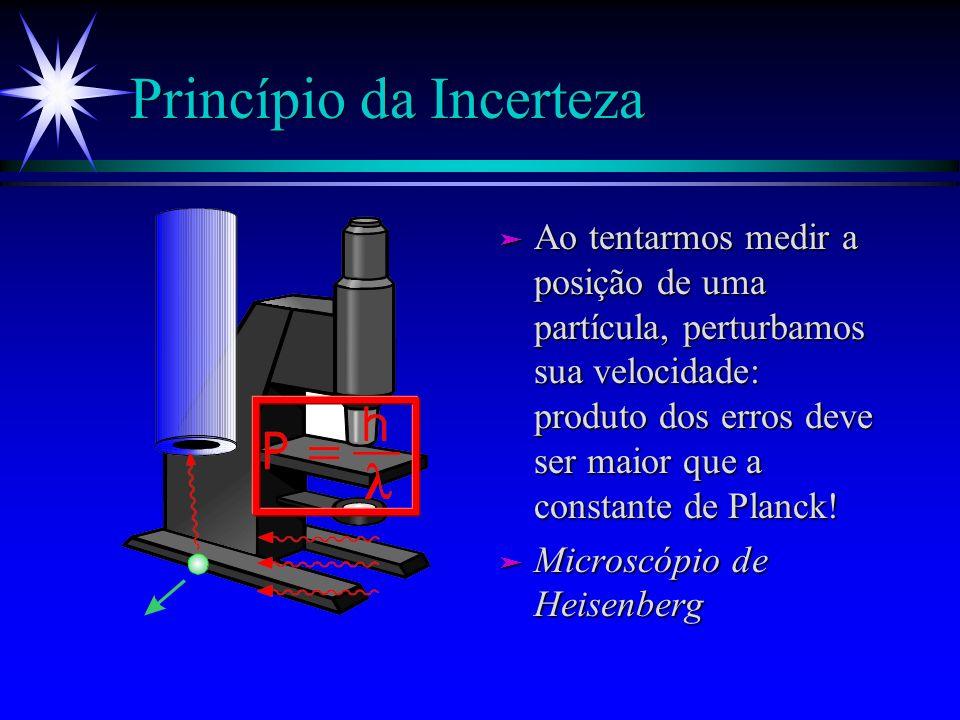 Complementaridade (Bohr) ä Medir por onde passa o elétron (ou fóton) destrói interferência! ä Medida perturba neces- sariamente o objeto medido ä Se h