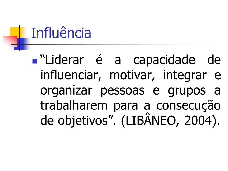 Influência Liderar é a capacidade de influenciar, motivar, integrar e organizar pessoas e grupos a trabalharem para a consecução de objetivos. (LIBÂNE