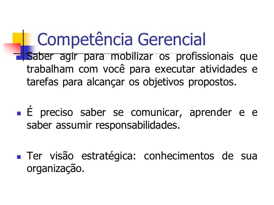 Competência Gerencial Saber agir para mobilizar os profissionais que trabalham com você para executar atividades e tarefas para alcançar os objetivos