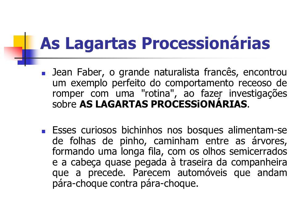 As Lagartas Processionárias Jean Faber, o grande naturalista francês, encontrou um exemplo perfeito do comportamento receoso de romper com uma