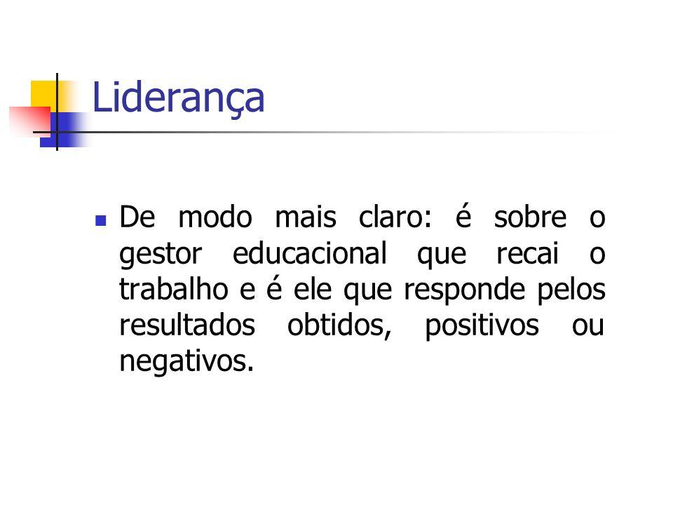 Liderança De modo mais claro: é sobre o gestor educacional que recai o trabalho e é ele que responde pelos resultados obtidos, positivos ou negativos.
