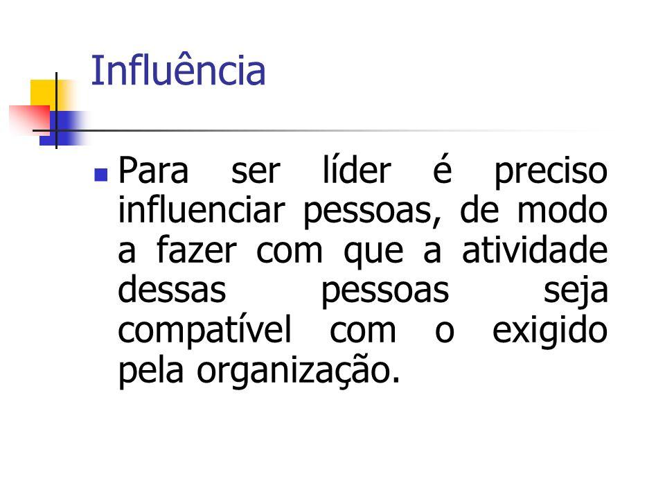 Influência Para ser líder é preciso influenciar pessoas, de modo a fazer com que a atividade dessas pessoas seja compatível com o exigido pela organiz