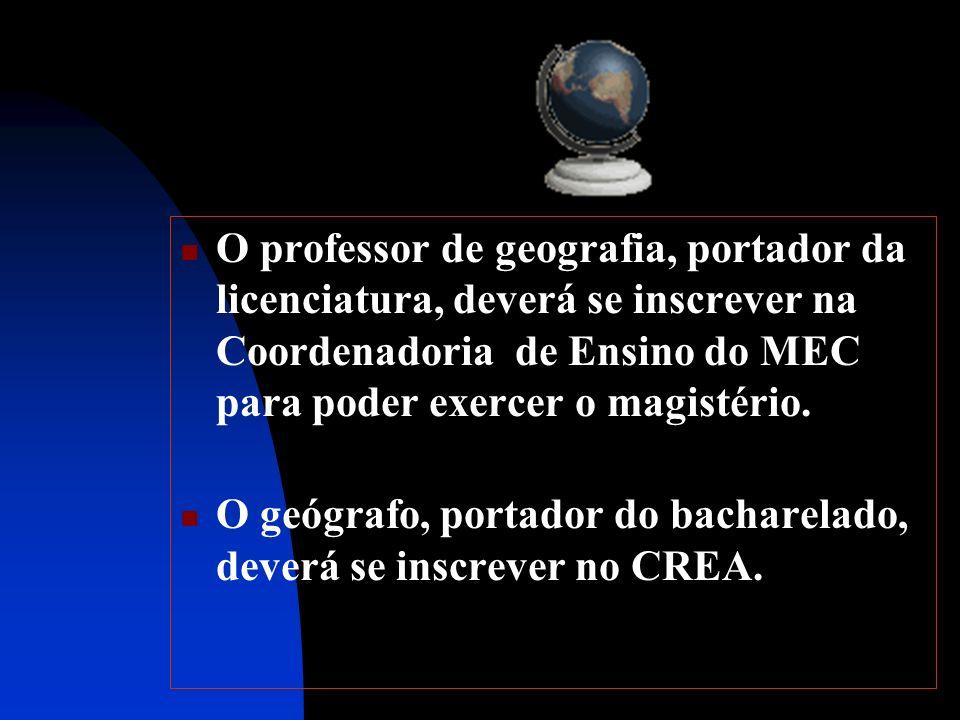 O professor de geografia, portador da licenciatura, deverá se inscrever na Coordenadoria de Ensino do MEC para poder exercer o magistério. O geógrafo,
