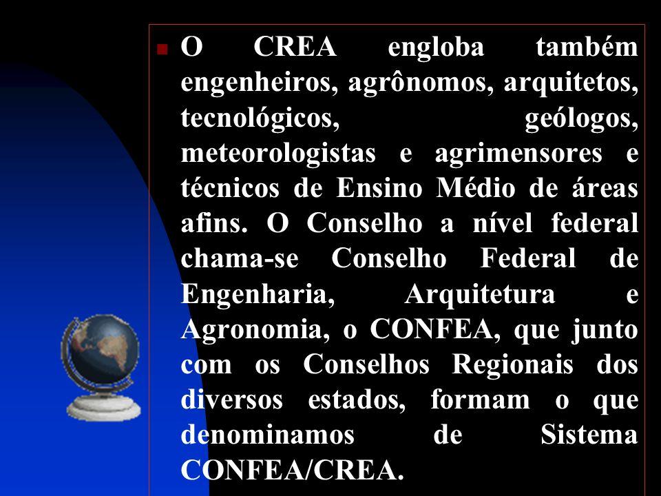 O CREA engloba também engenheiros, agrônomos, arquitetos, tecnológicos, geólogos, meteorologistas e agrimensores e técnicos de Ensino Médio de áreas a