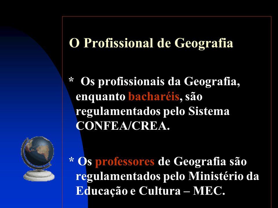 O Profissional de Geografia * Os profissionais da Geografia, enquanto bacharéis, são regulamentados pelo Sistema CONFEA/CREA. * Os professores de Geog