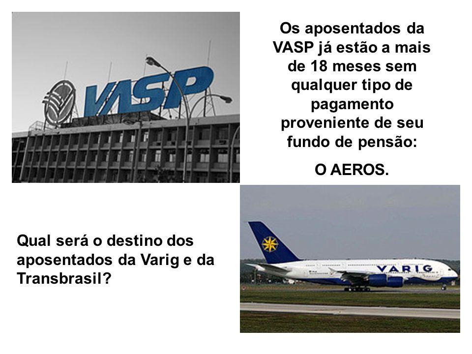Os aposentados da VASP já estão a mais de 18 meses sem qualquer tipo de pagamento proveniente de seu fundo de pensão: O AEROS.