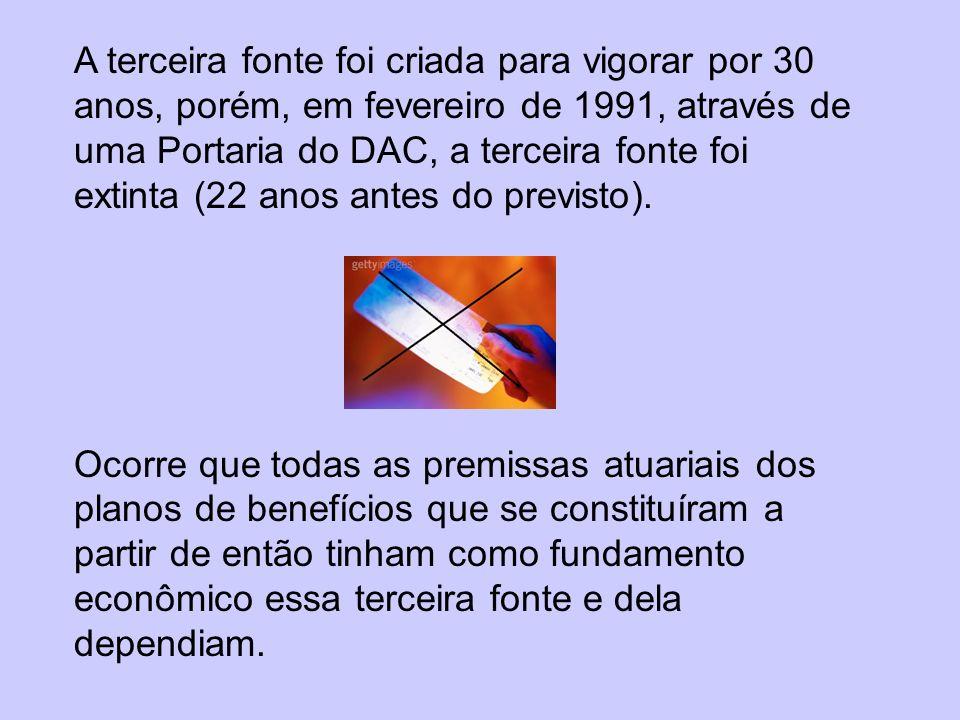 A terceira fonte foi criada para vigorar por 30 anos, porém, em fevereiro de 1991, através de uma Portaria do DAC, a terceira fonte foi extinta (22 anos antes do previsto).