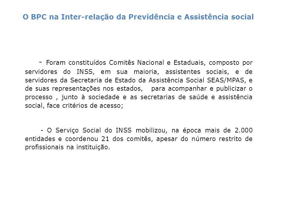 - Foram constituídos Comitês Nacional e Estaduais, composto por servidores do INSS, em sua maioria, assistentes sociais, e de servidores da Secretaria