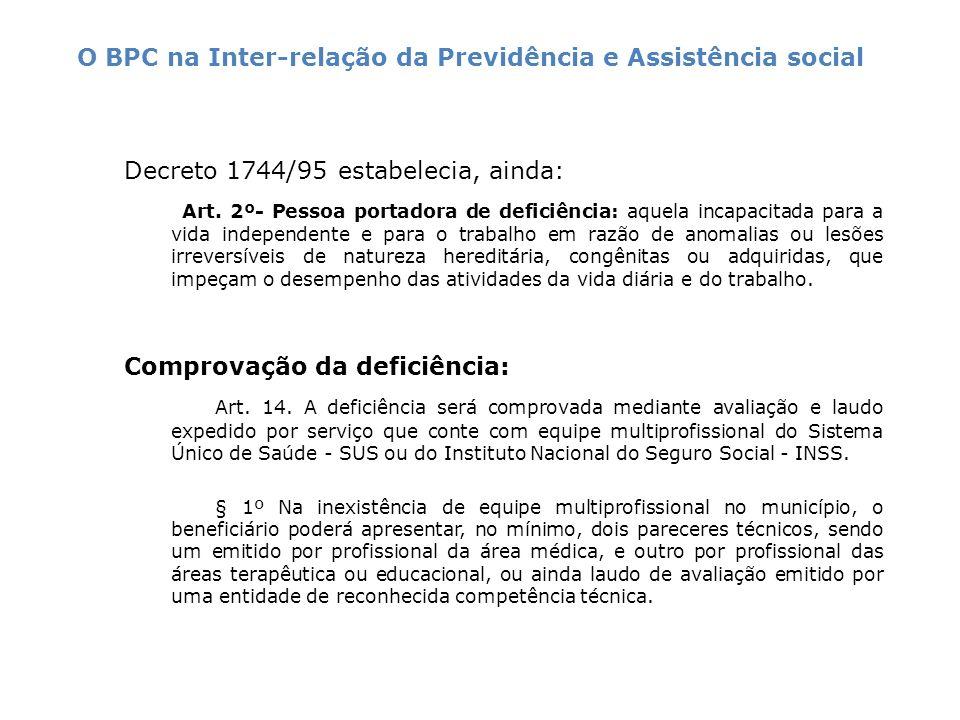 Decreto 1744/95 estabelecia, ainda: Art. 2º- Pessoa portadora de deficiência: aquela incapacitada para a vida independente e para o trabalho em razão
