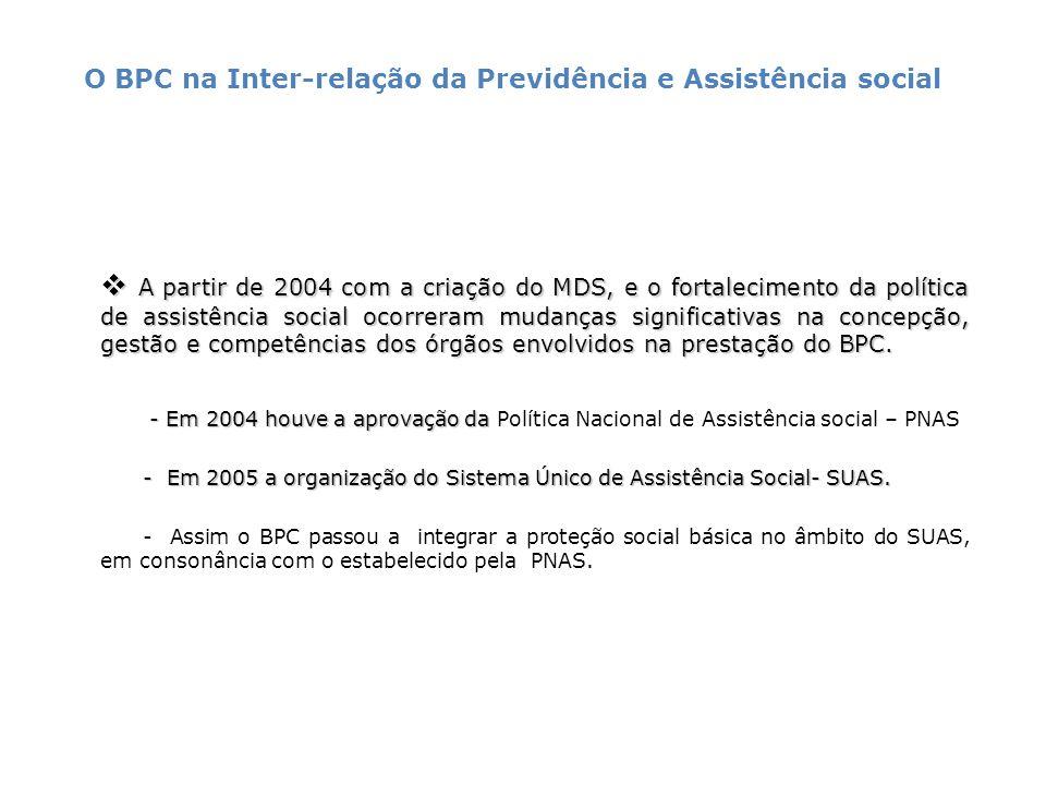 A partir de 2004 com a criação do MDS, e o fortalecimento da política de assistência social ocorreram mudanças significativas na concepção, gestão e c