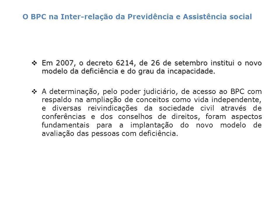Em 2007, o decreto 6214, de 26 de setembro institui o novo modelo da deficiência e do grau da incapacidade. Em 2007, o decreto 6214, de 26 de setembro