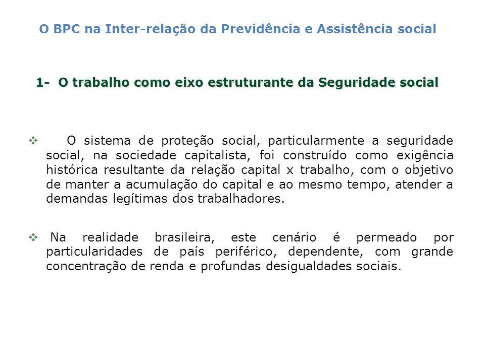 1- O trabalho como eixo estruturante da Seguridade social O sistema de proteção social, particularmente a seguridade social, na sociedade capitalista,
