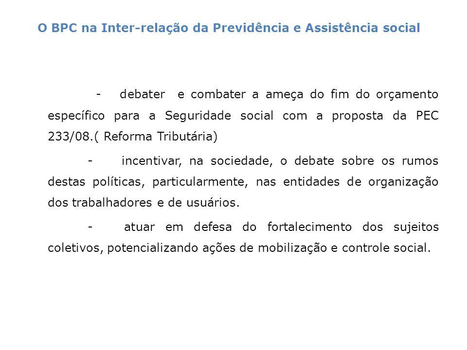 - debater e combater a ameça do fim do orçamento específico para a Seguridade social com a proposta da PEC 233/08.( Reforma Tributária) - incentivar,