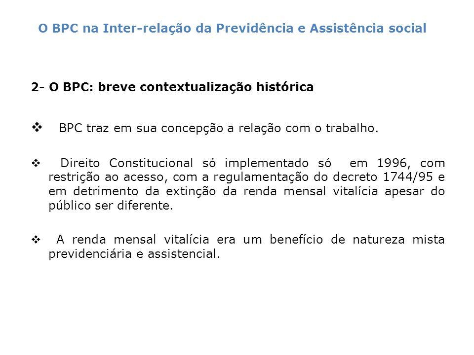 2- O BPC: breve contextualização histórica BPC traz em sua concepção a relação com o trabalho. Direito Constitucional só implementado só em 1996, com