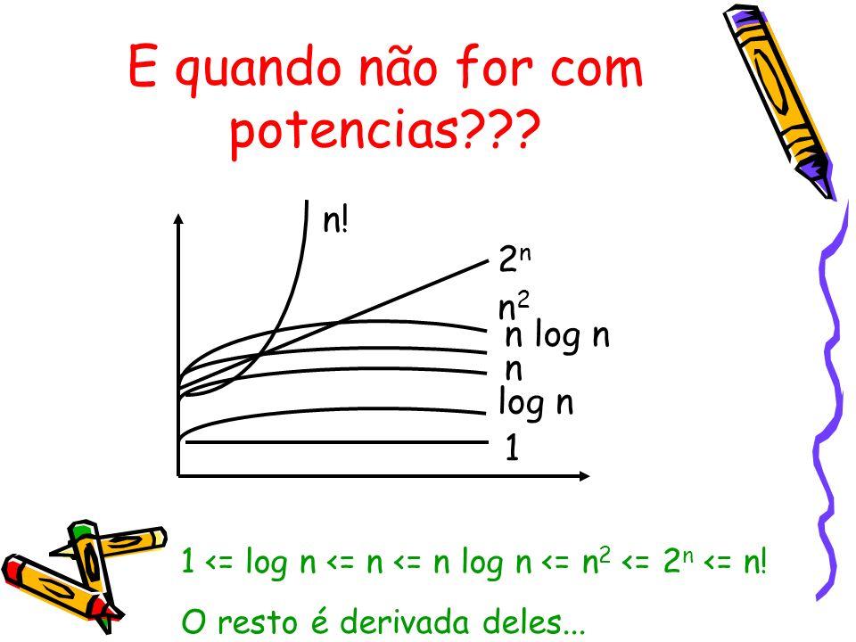 E quando não for com potencias??? n! 2n2n n2n2 n log n n log n 1 1 <= log n <= n <= n log n <= n 2 <= 2 n <= n! O resto é derivada deles...