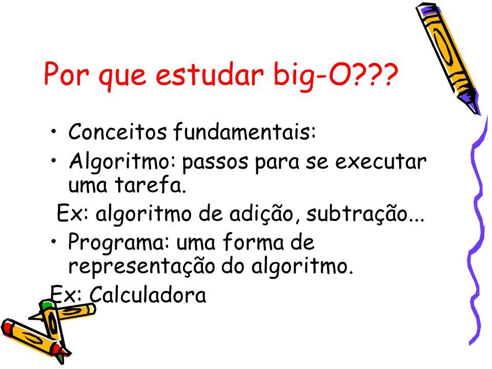 Por que estudar big-O??? Conceitos fundamentais: Algoritmo: passos para se executar uma tarefa. Ex: algoritmo de adição, subtração... Programa: uma fo