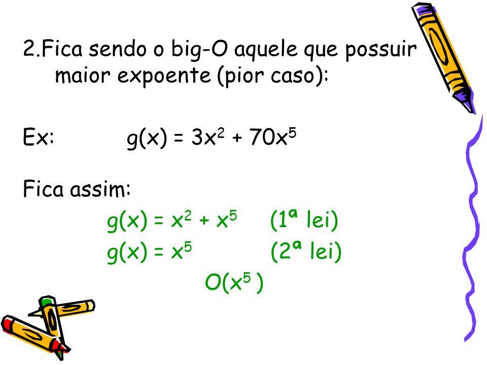 2.Fica sendo o big-O aquele que possuir maior expoente (pior caso): Ex: g(x) = 3x 2 + 70x 5 Fica assim: g(x) = x 2 + x 5 (1ª lei) g(x) = x 5 (2ª lei)