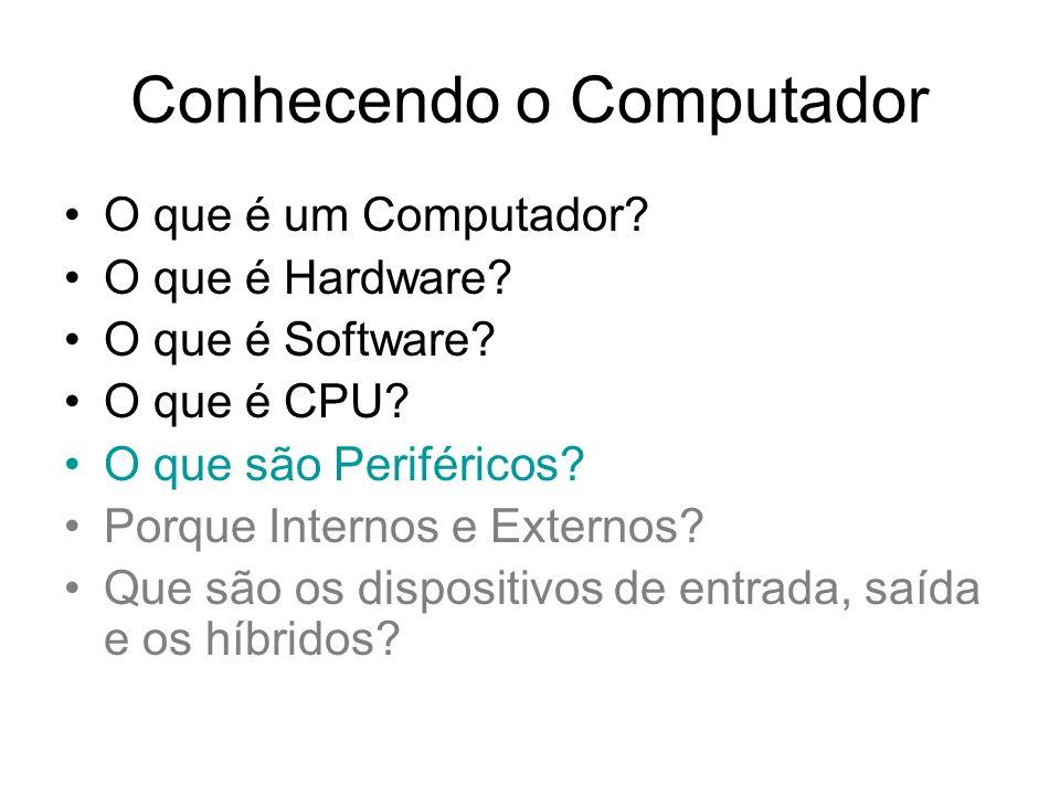 Conhecendo o Computador O que é um Computador? O que é Hardware? O que é Software? O que é CPU? O que são Periféricos? Porque Internos e Externos? Que