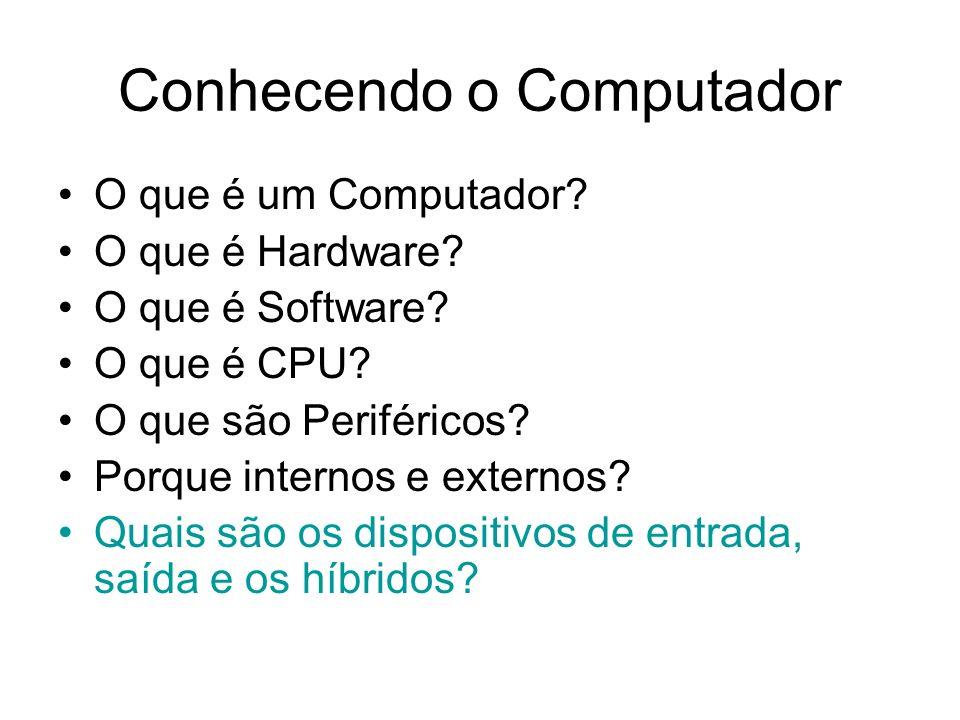 Conhecendo o Computador O que é um Computador? O que é Hardware? O que é Software? O que é CPU? O que são Periféricos? Porque internos e externos? Qua