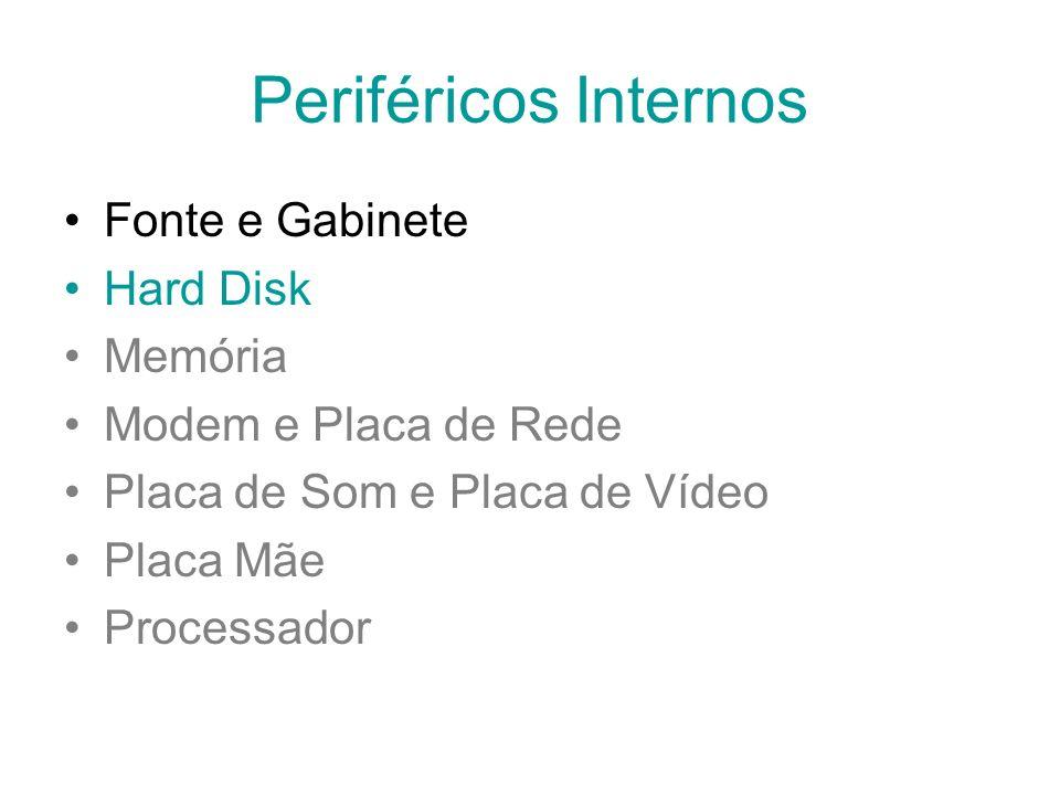Periféricos Internos Fonte e Gabinete Hard Disk Memória Modem e Placa de Rede Placa de Som e Placa de Vídeo Placa Mãe Processador