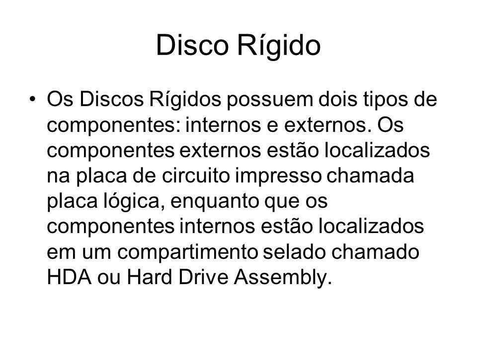 Disco Rígido Os Discos Rígidos possuem dois tipos de componentes: internos e externos. Os componentes externos estão localizados na placa de circuito