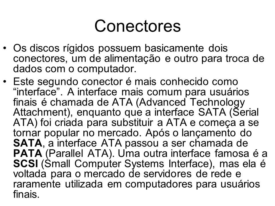 Conectores Os discos rígidos possuem basicamente dois conectores, um de alimentação e outro para troca de dados com o computador. Este segundo conecto