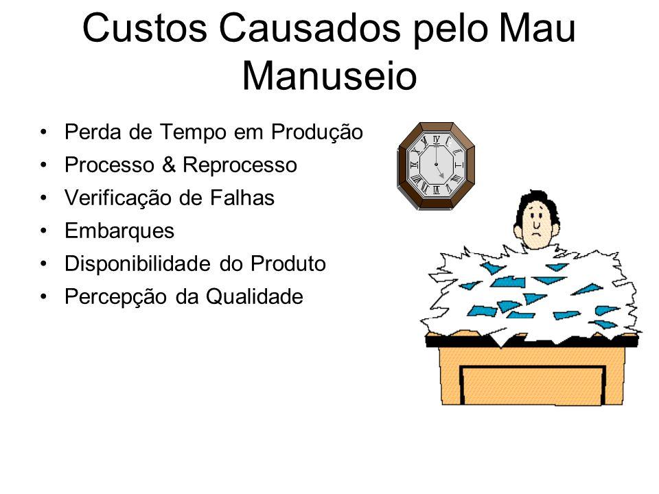 Custos Causados pelo Mau Manuseio Perda de Tempo em Produção Processo & Reprocesso Verificação de Falhas Embarques Disponibilidade do Produto Percepçã
