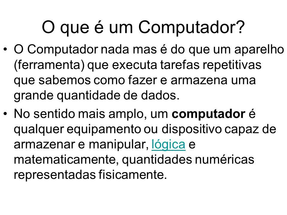 O que é um Computador? O Computador nada mas é do que um aparelho (ferramenta) que executa tarefas repetitivas que sabemos como fazer e armazena uma g