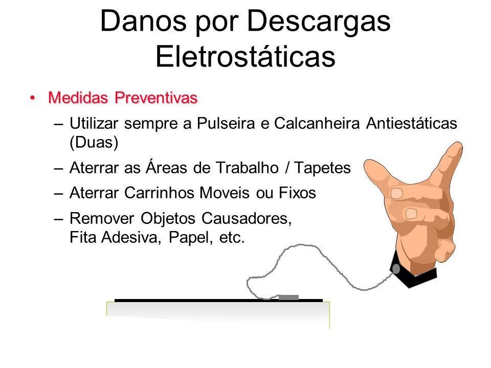 Danos por Descargas Eletrostáticas Medidas PreventivasMedidas Preventivas –Utilizar sempre a Pulseira e Calcanheira Antiestáticas (Duas) –Aterrar as Á