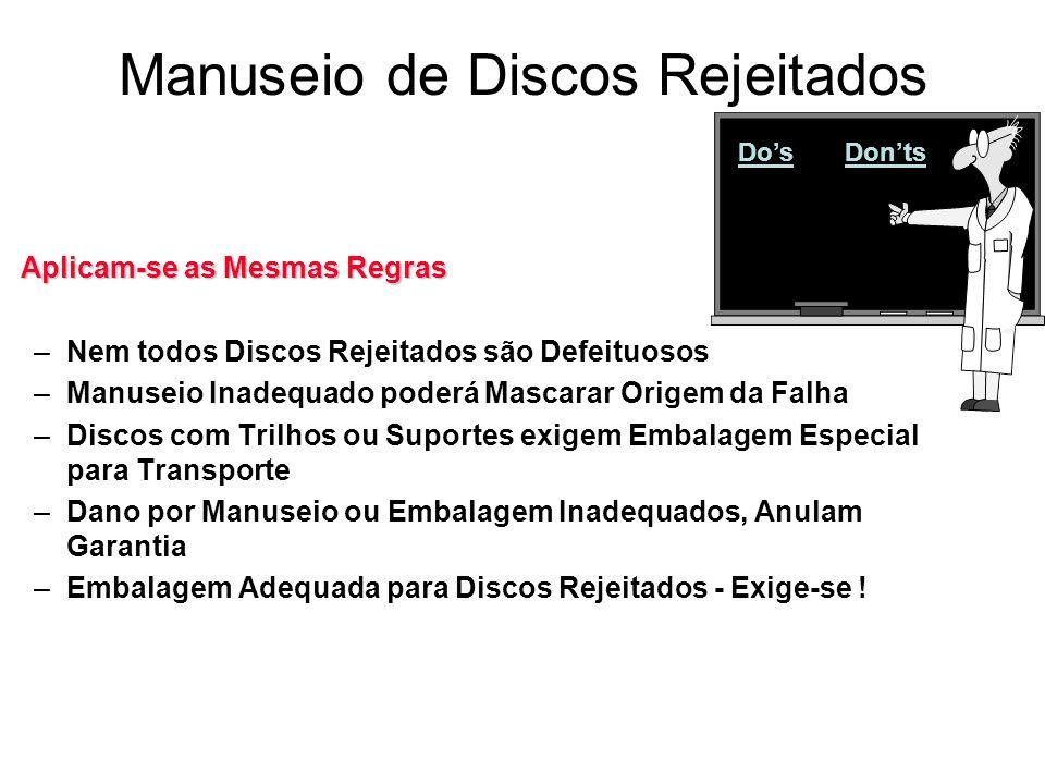 Manuseio de Discos Rejeitados DosDonts Aplicam-se as Mesmas Regras –Nem todos Discos Rejeitados são Defeituosos –Manuseio Inadequado poderá Mascarar O