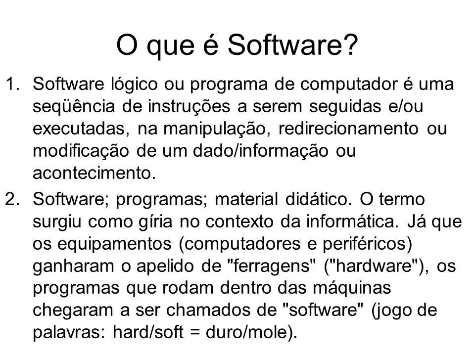O que é Software? 1.Software lógico ou programa de computador é uma seqüência de instruções a serem seguidas e/ou executadas, na manipulação, redireci
