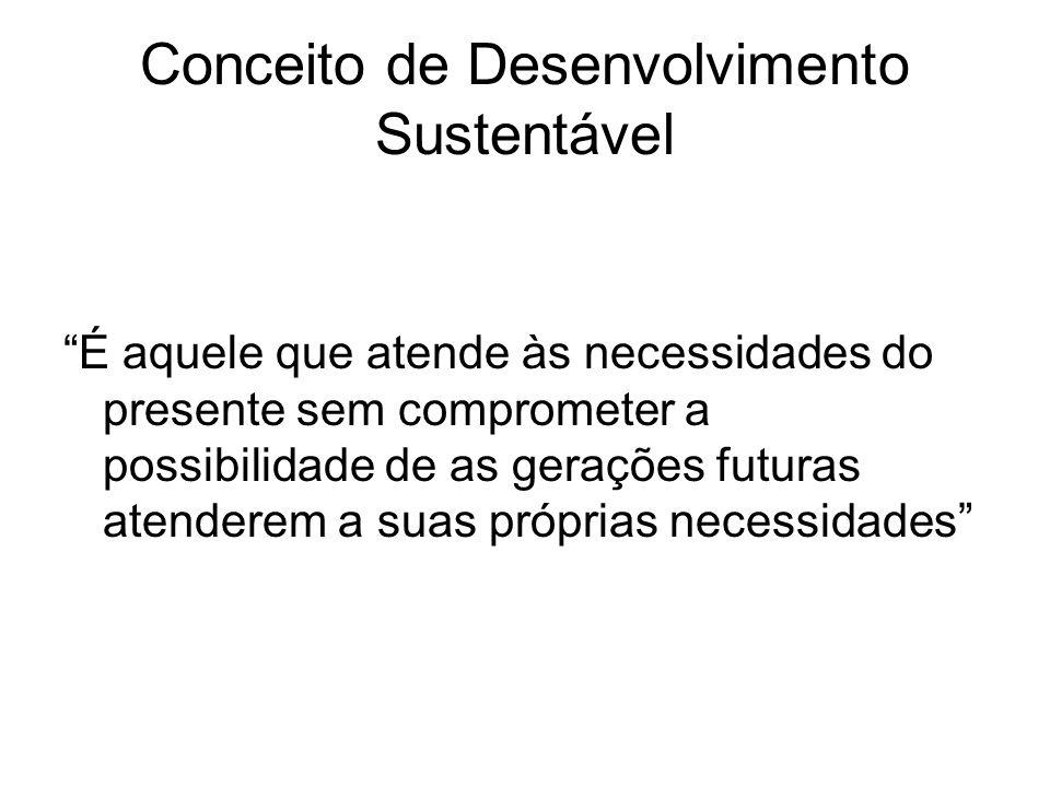 Conceito de Desenvolvimento Sustentável É aquele que atende às necessidades do presente sem comprometer a possibilidade de as gerações futuras atender