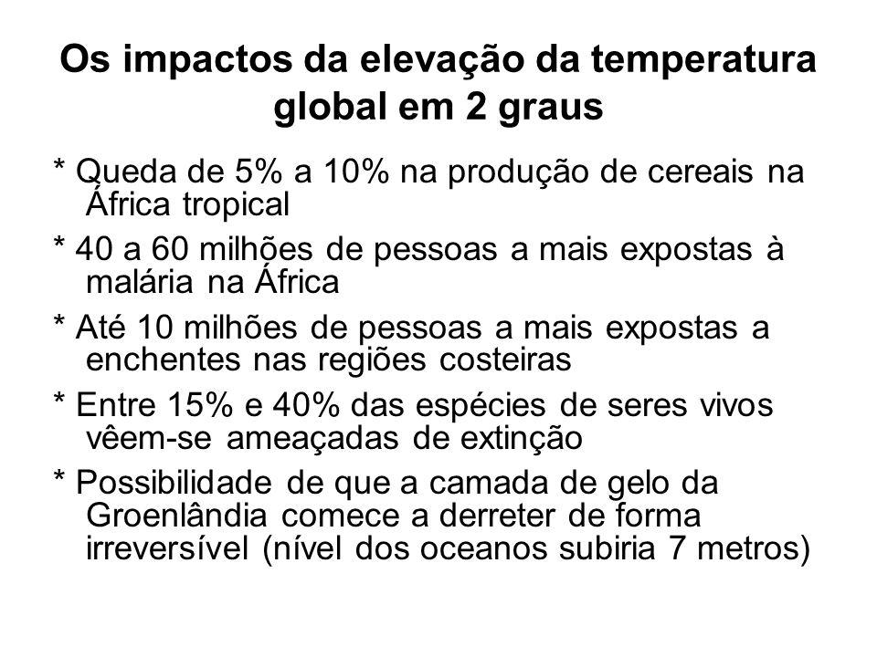Os impactos da elevação da temperatura global em 2 graus * Queda de 5% a 10% na produção de cereais na África tropical * 40 a 60 milhões de pessoas a