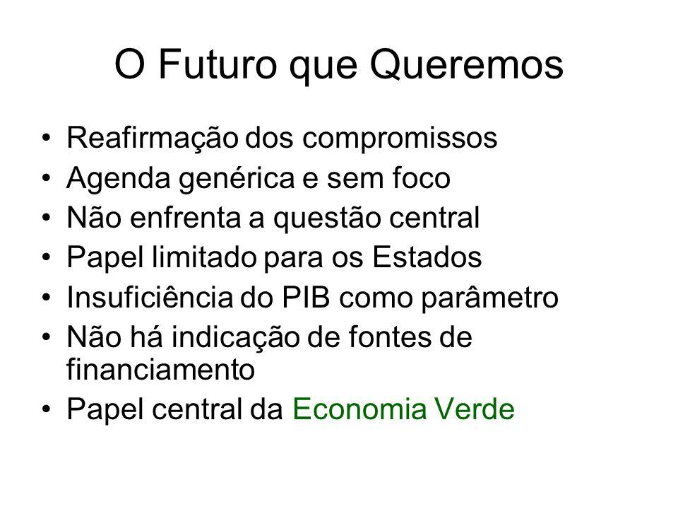 O Futuro que Queremos Reafirmação dos compromissos Agenda genérica e sem foco Não enfrenta a questão central Papel limitado para os Estados Insuficiên