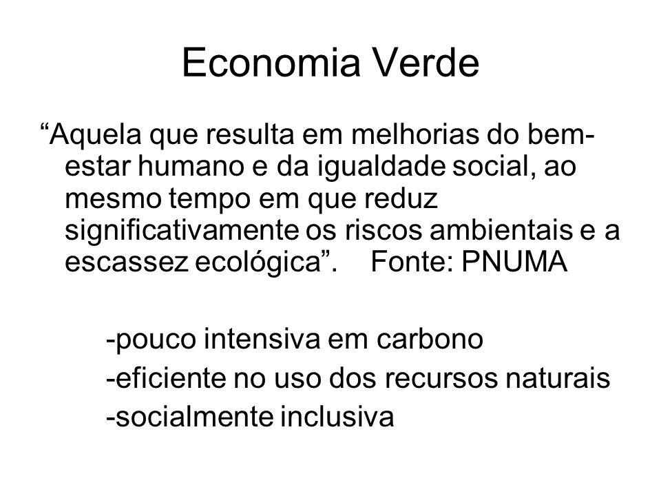 Economia Verde Aquela que resulta em melhorias do bem- estar humano e da igualdade social, ao mesmo tempo em que reduz significativamente os riscos am