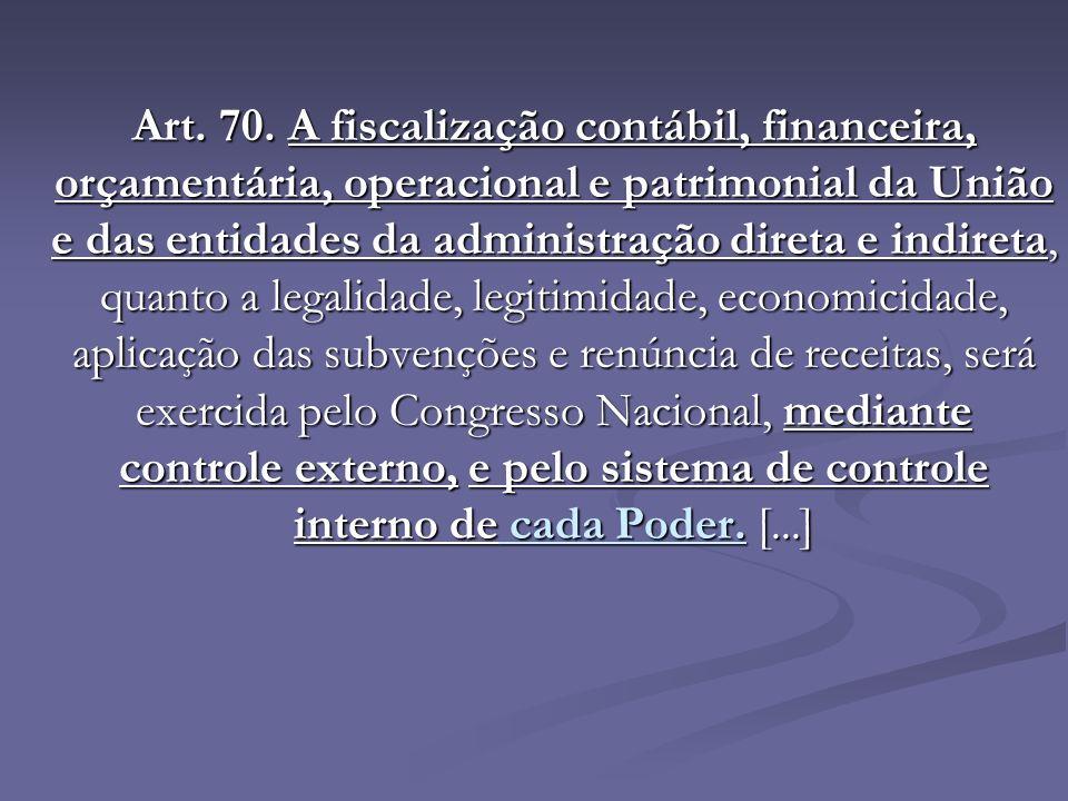 Art. 70. A fiscalização contábil, financeira, orçamentária, operacional e patrimonial da União e das entidades da administração direta e indireta, qua