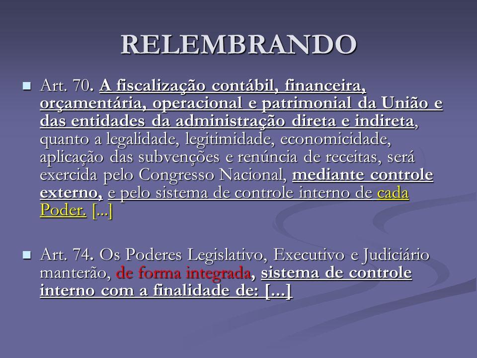 RELEMBRANDO Art. 70. A fiscalização contábil, financeira, orçamentária, operacional e patrimonial da União e das entidades da administração direta e i
