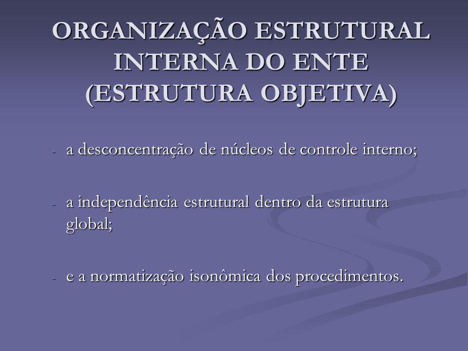 ORGANIZAÇÃO ESTRUTURAL INTERNA DO ENTE (ESTRUTURA OBJETIVA) - a desconcentração de núcleos de controle interno; - a independência estrutural dentro da