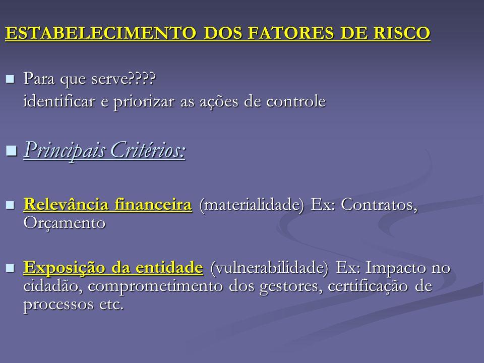 ESTABELECIMENTO DOS FATORES DE RISCO Para que serve???? Para que serve???? identificar e priorizar as ações de controle Principais Critérios: Principa