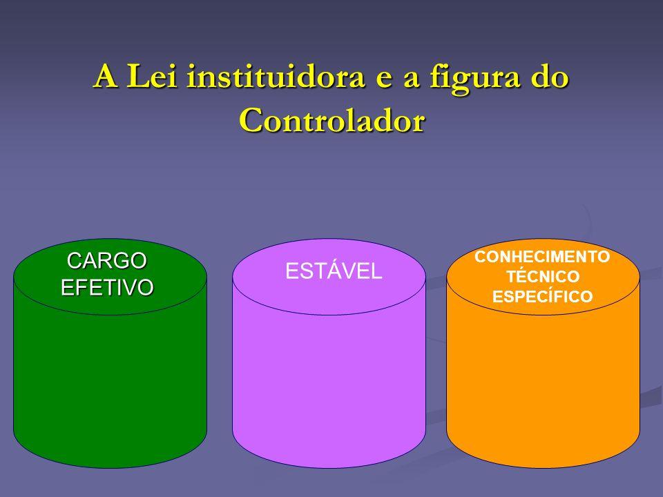 A Lei instituidora e a figura do Controlador CARGO EFETIVO ESTÁVEL CONHECIMENTO TÉCNICO ESPECÍFICO